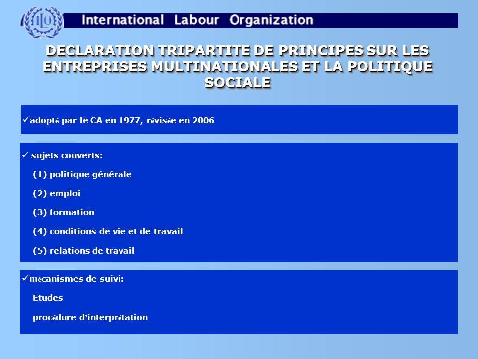 DECLARATION TRIPARTITE DE PRINCIPES SUR LES ENTREPRISES MULTINATIONALES ET LA POLITIQUE SOCIALE