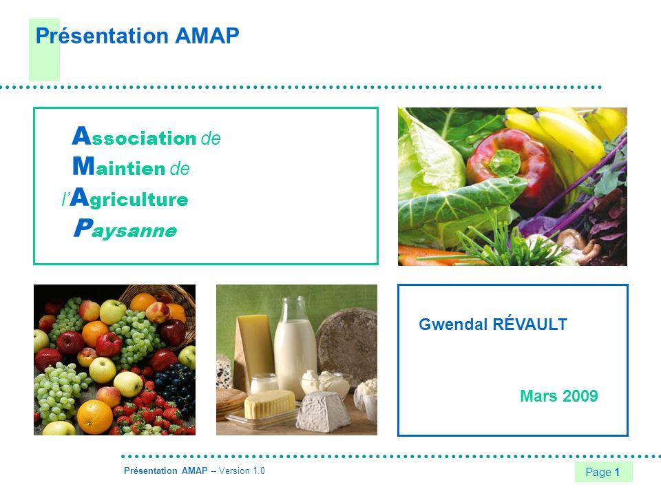 Présentation AMAP Association de Maintien de l'Agriculture Paysanne