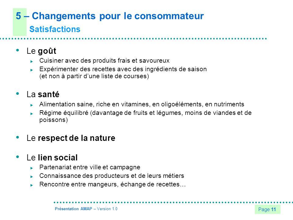 5 – Changements pour le consommateur