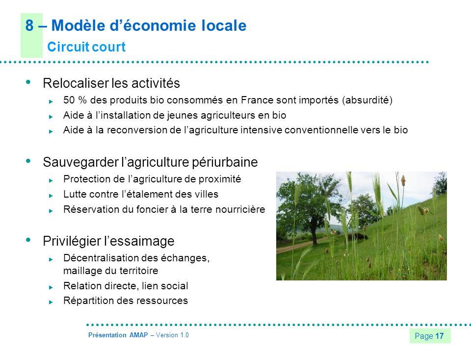 8 – Modèle d'économie locale