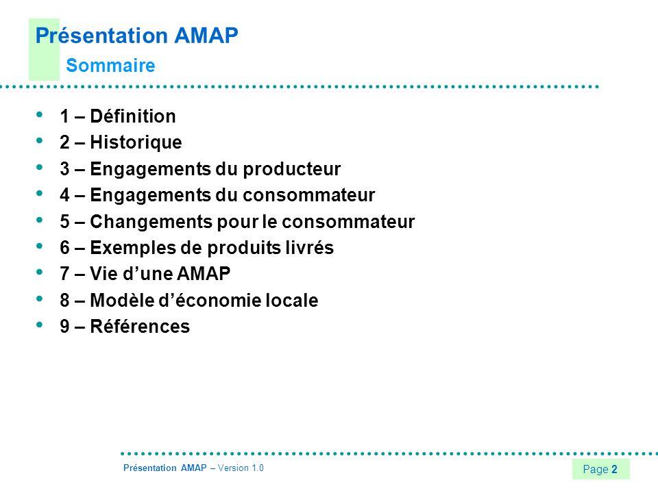 Présentation AMAP Sommaire 1 – Définition 2 – Historique