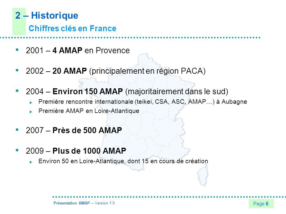 2 – Historique Chiffres clés en France 2001 – 4 AMAP en Provence