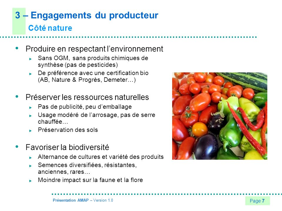 3 – Engagements du producteur
