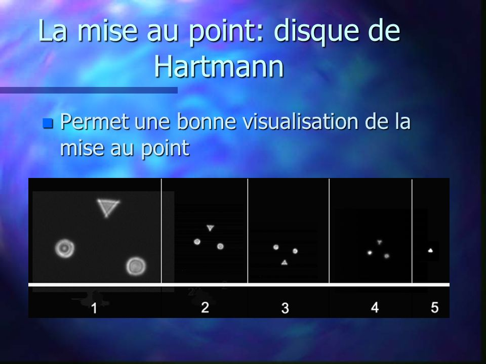 La mise au point: disque de Hartmann