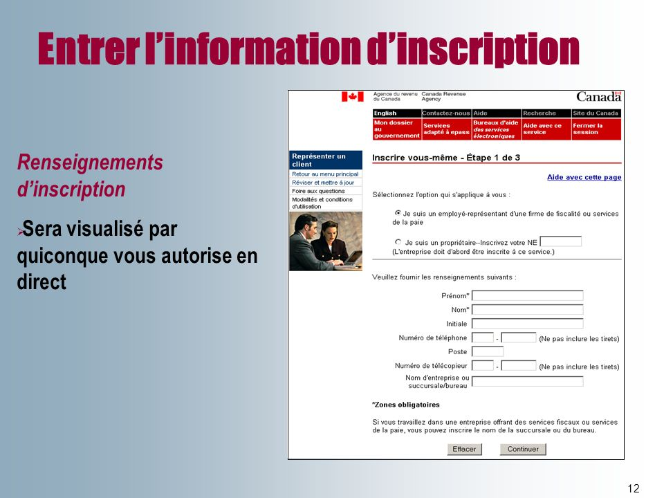 Entrer l'information d'inscription