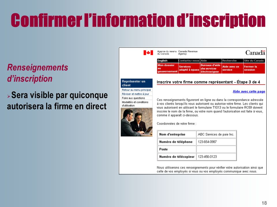 Confirmer l'information d'inscription