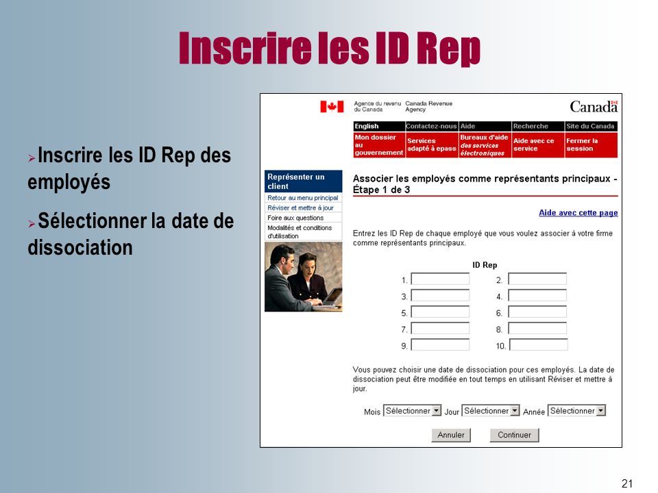 Inscrire les ID Rep Inscrire les ID Rep des employés