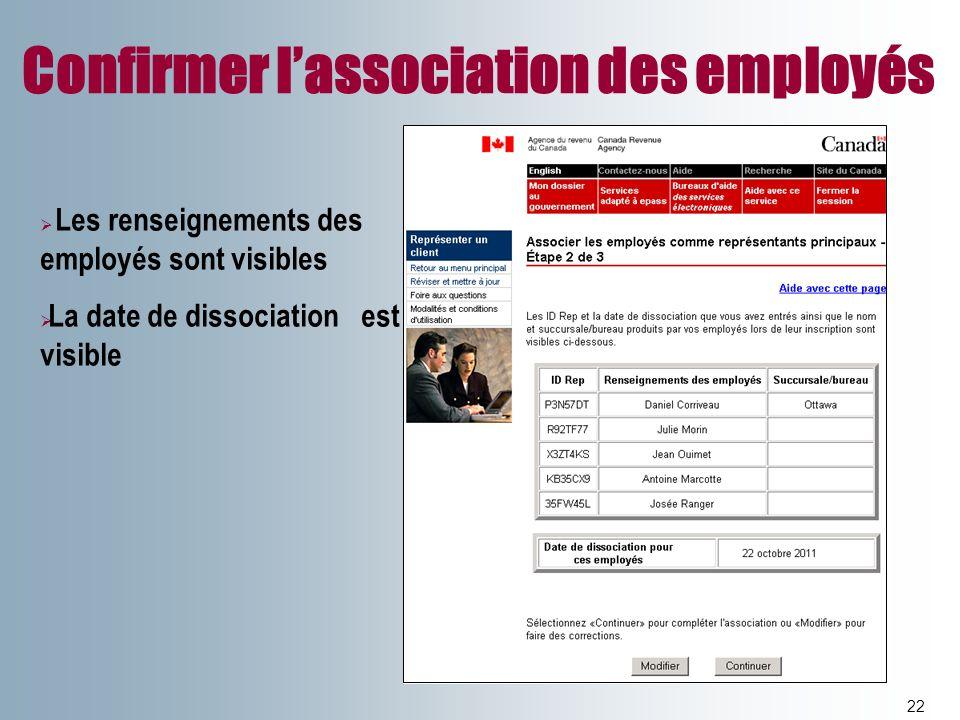 Confirmer l'association des employés