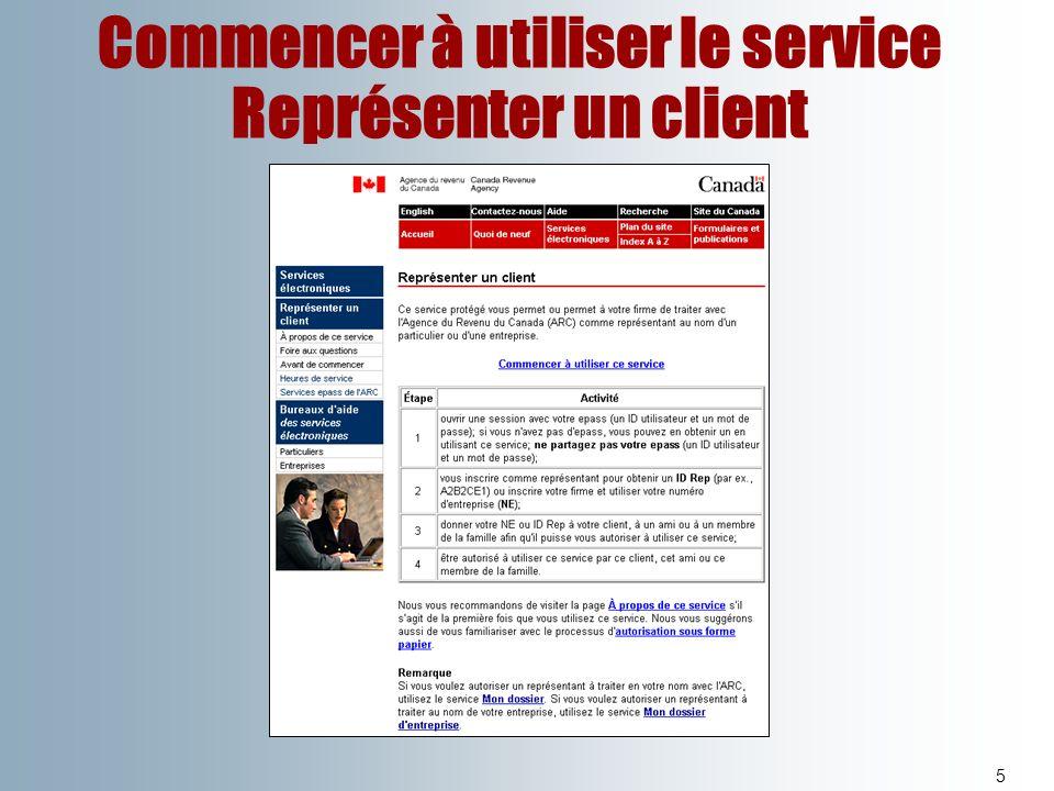 Commencer à utiliser le service Représenter un client