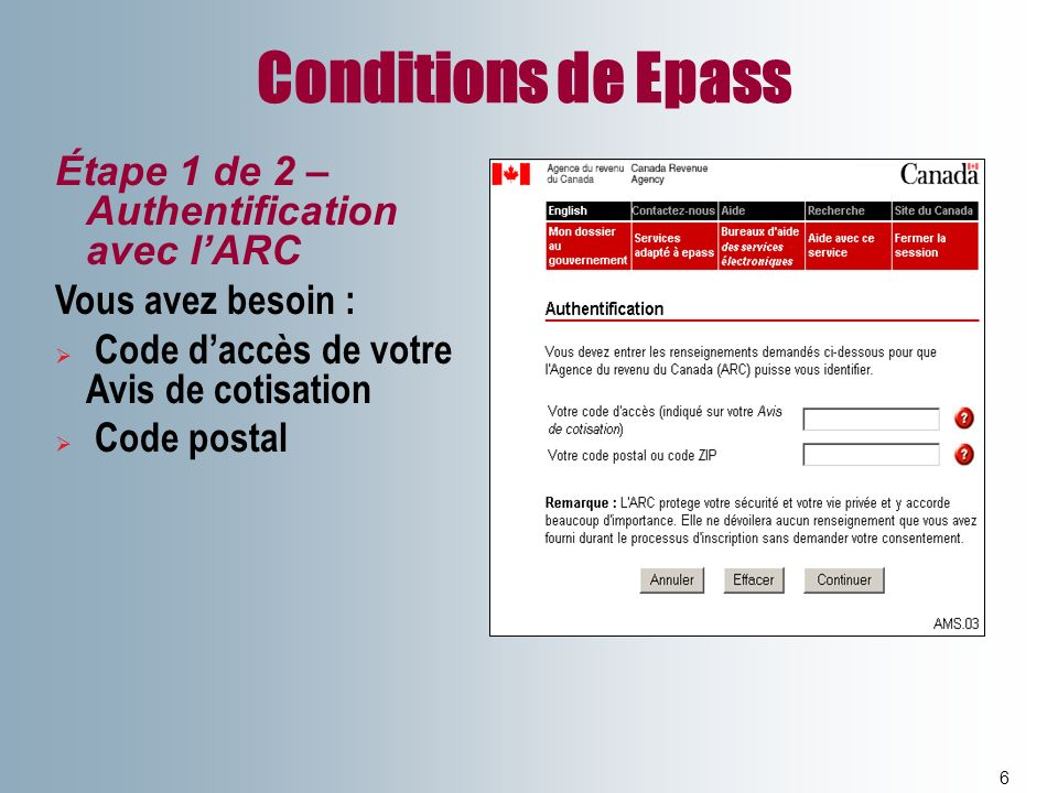 Conditions de Epass Étape 1 de 2 –Authentification avec l'ARC