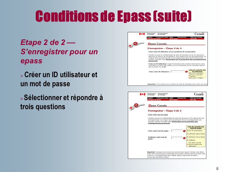 Conditions de Epass (suite)