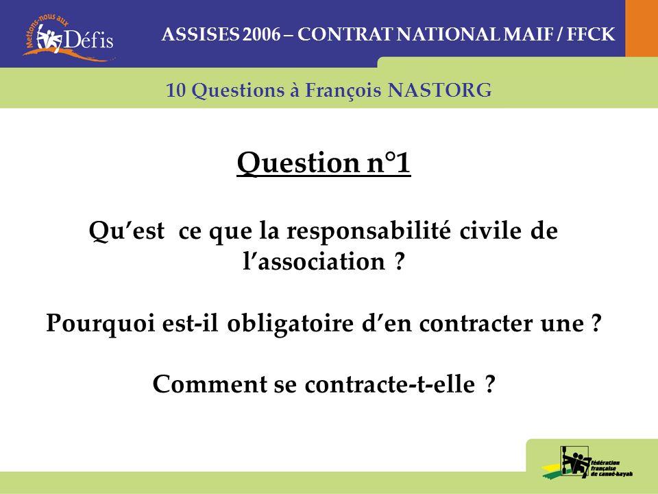 Question n°1 Qu'est ce que la responsabilité civile de l'association