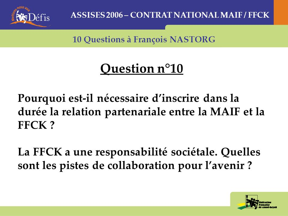 ASSISES 2006 – CONTRAT NATIONAL MAIF / FFCK