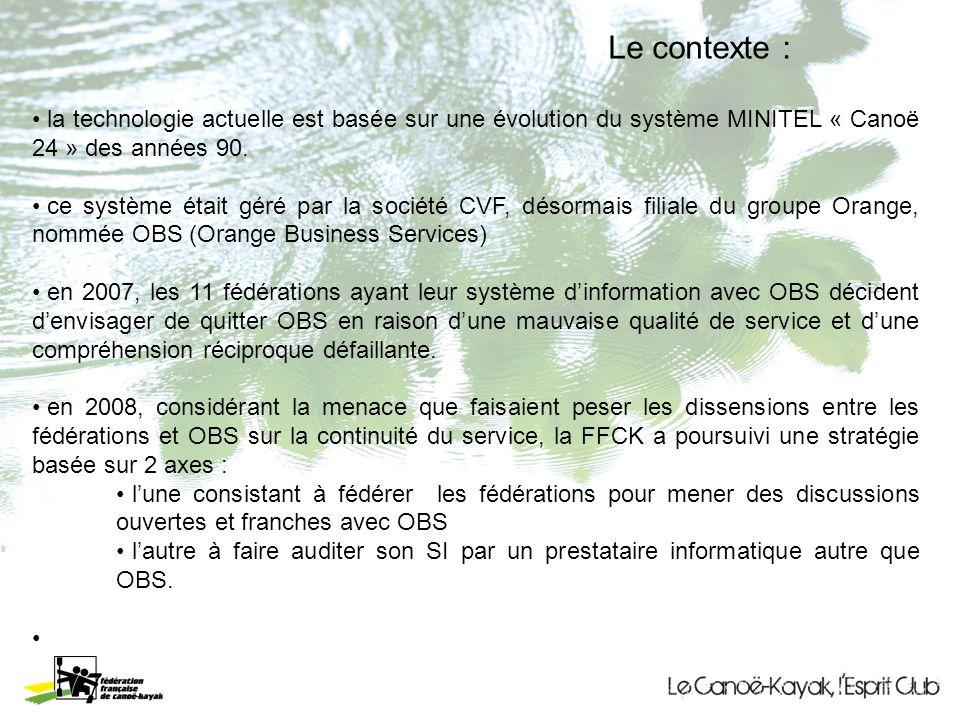 Le contexte : la technologie actuelle est basée sur une évolution du système MINITEL « Canoë 24 » des années 90.