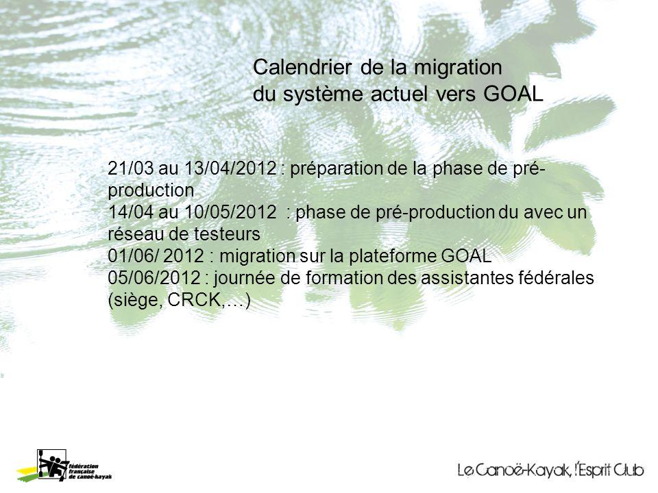 Calendrier de la migration du système actuel vers GOAL