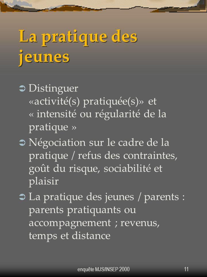 La pratique des jeunes Distinguer «activité(s) pratiquée(s)» et « intensité ou régularité de la pratique »