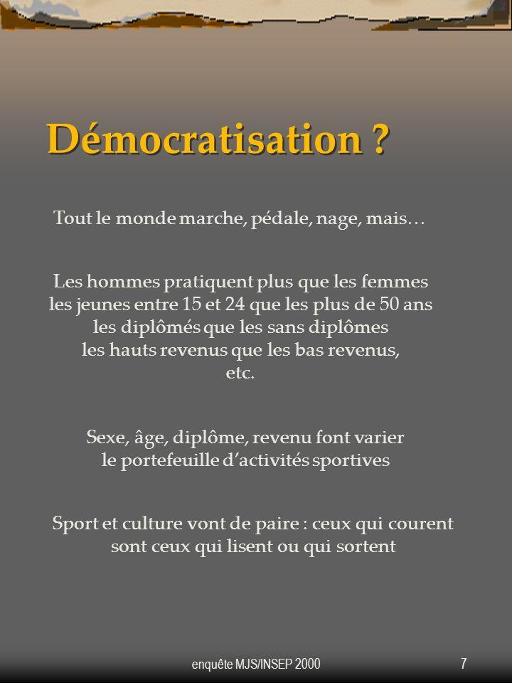 Démocratisation Tout le monde marche, pédale, nage, mais…