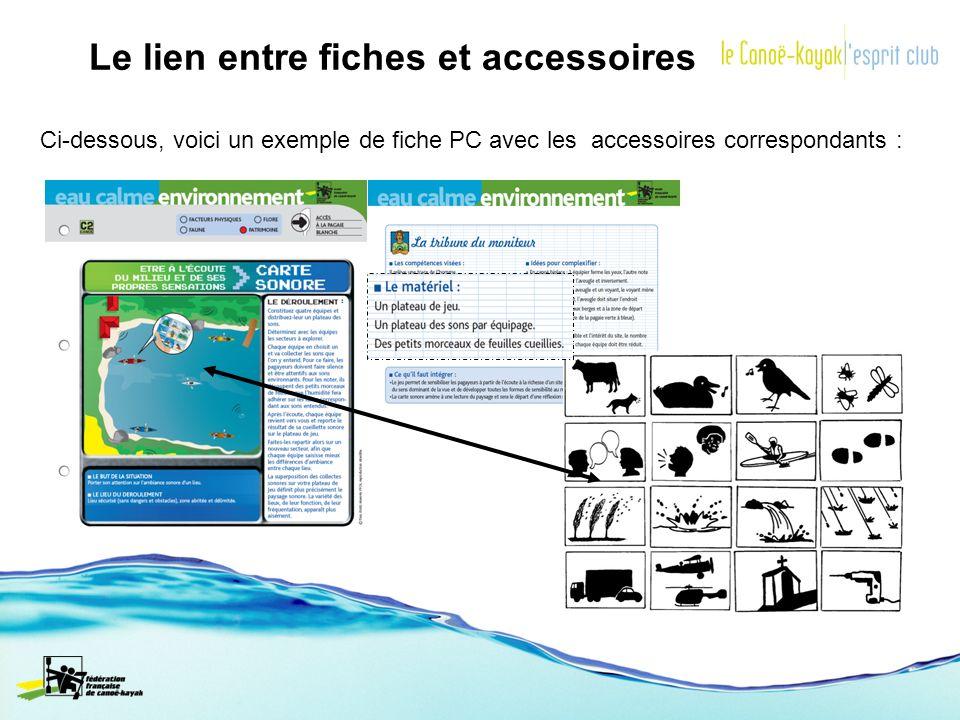 Le lien entre fiches et accessoires