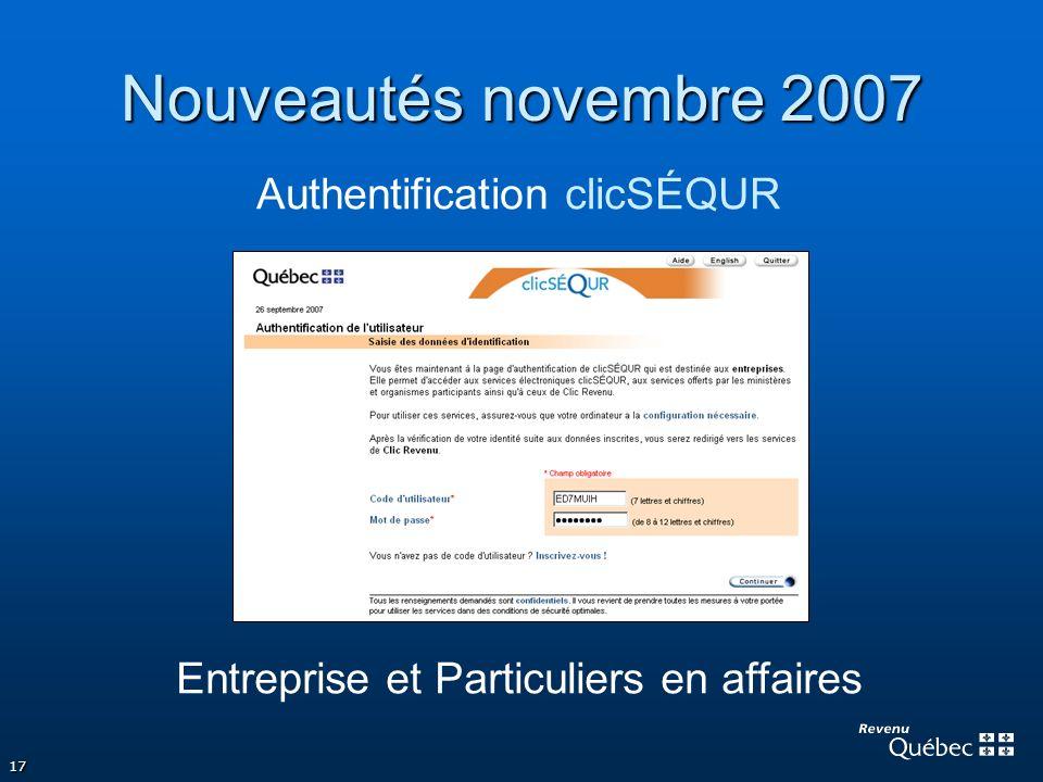Nouveautés novembre 2007 Authentification clicSÉQUR