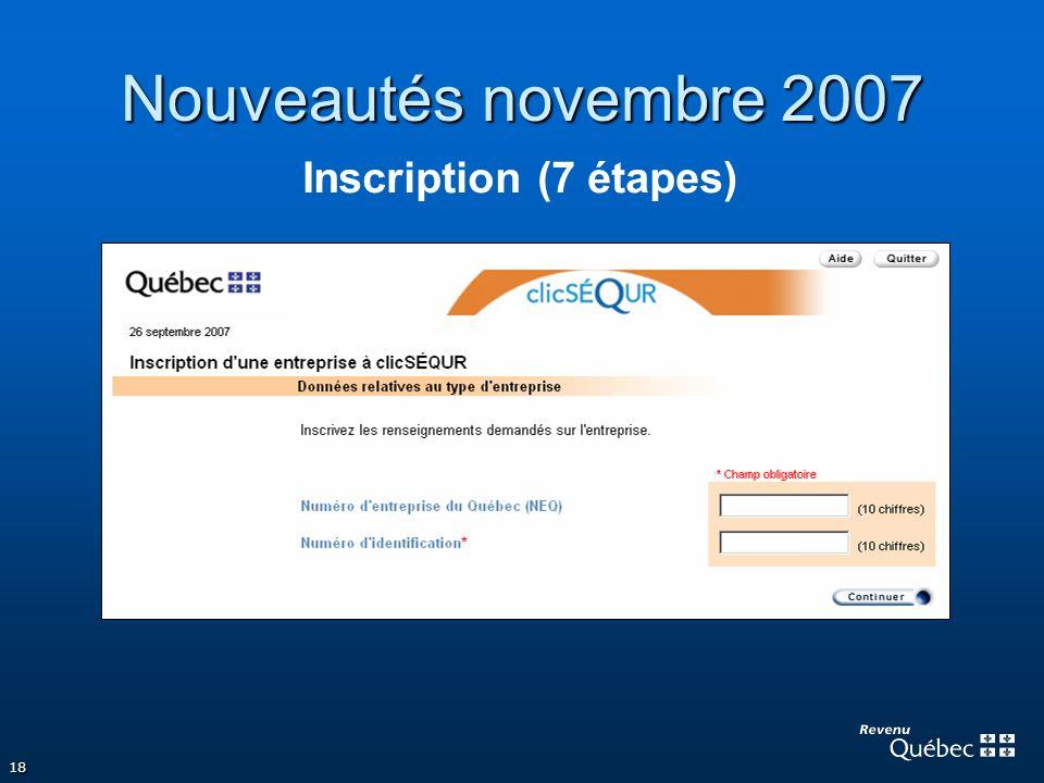 Nouveautés novembre 2007 Inscription (7 étapes)