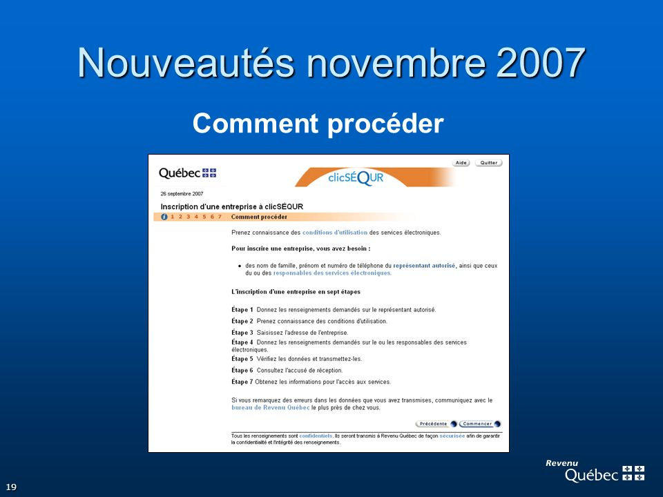 Nouveautés novembre 2007 Comment procéder