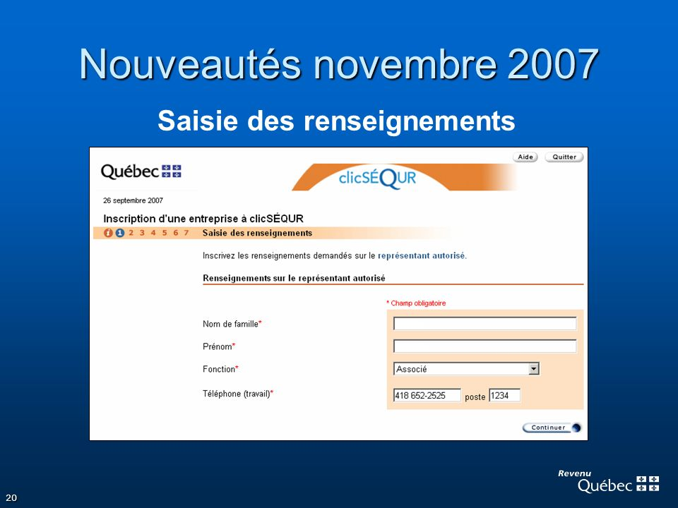 Nouveautés novembre 2007 Saisie des renseignements