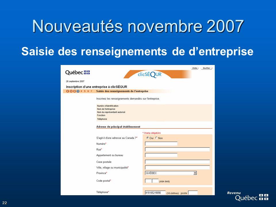Nouveautés novembre 2007 Saisie des renseignements de d'entreprise