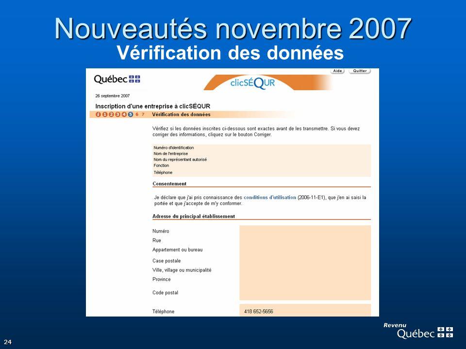 Nouveautés novembre 2007 Vérification des données