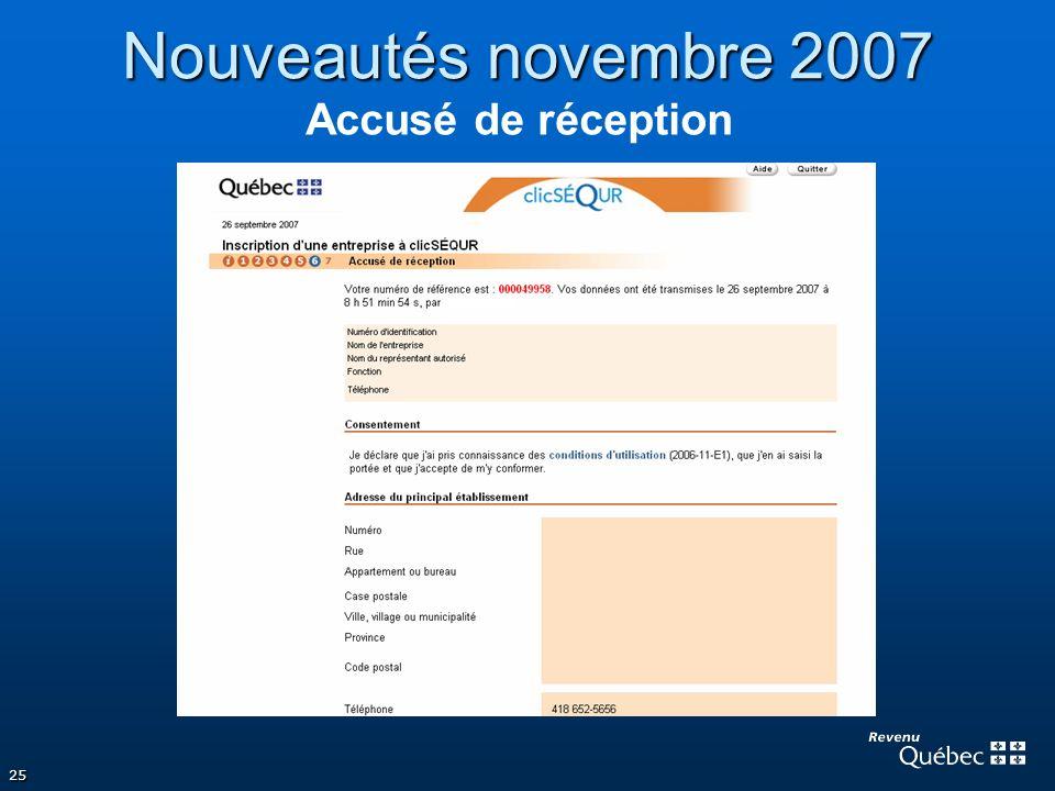 Nouveautés novembre 2007 Accusé de réception