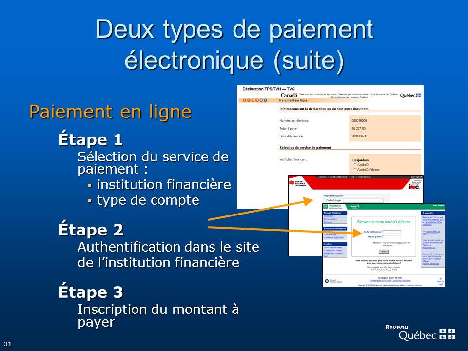 Deux types de paiement électronique (suite)