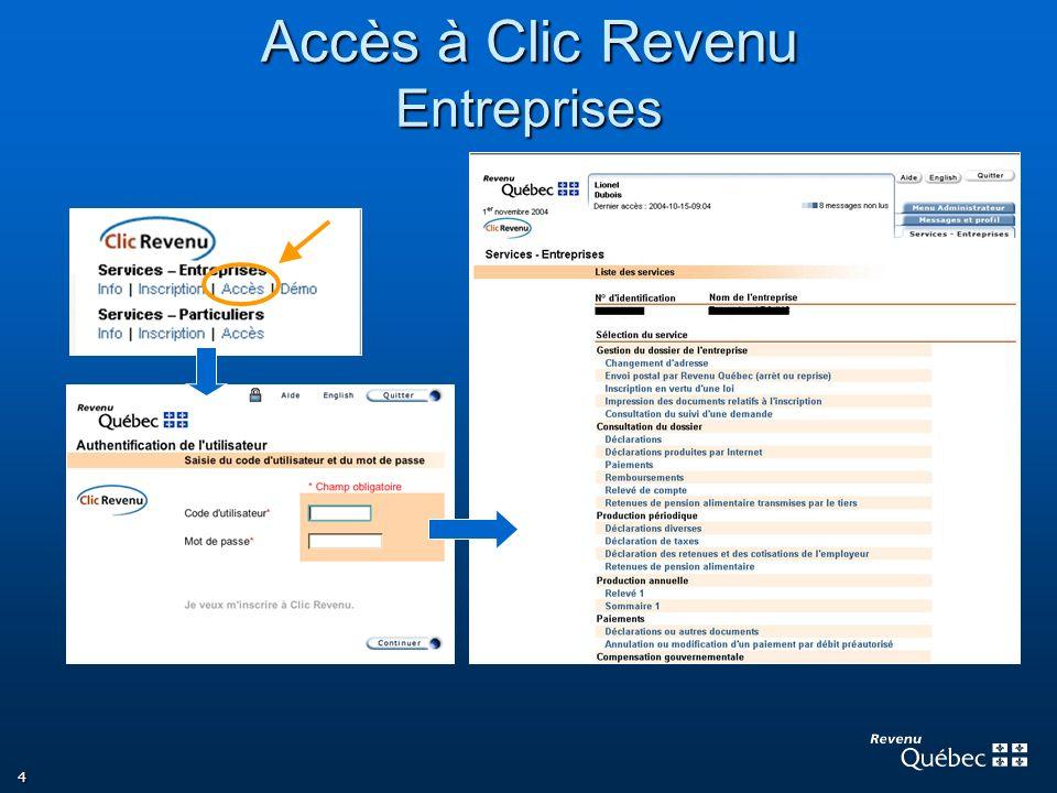 Accès à Clic Revenu Entreprises