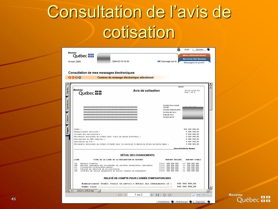 Consultation de l'avis de cotisation