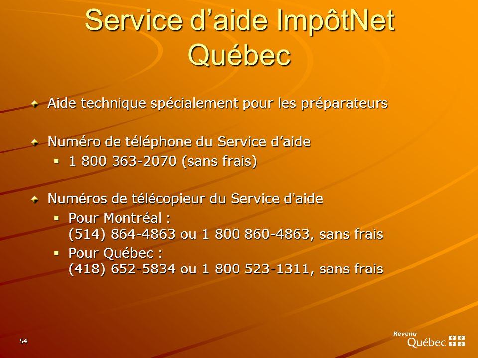 Service d'aide ImpôtNet Québec