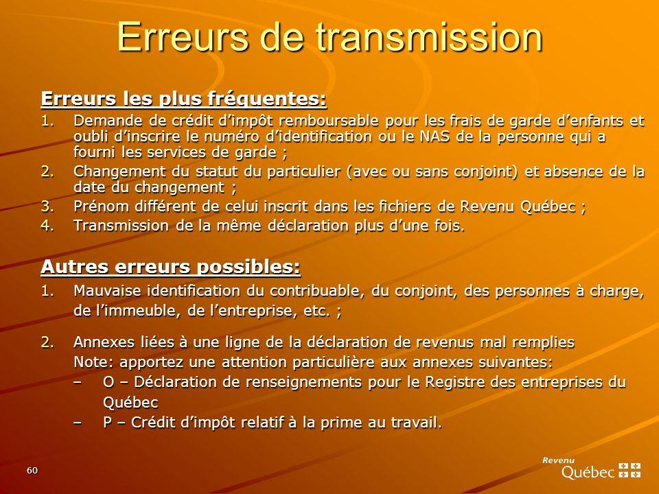 Erreurs de transmission