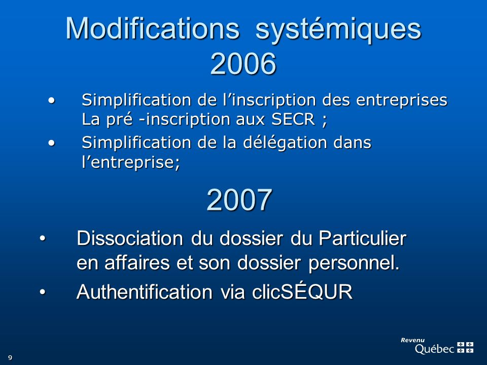 Modifications systémiques 2006