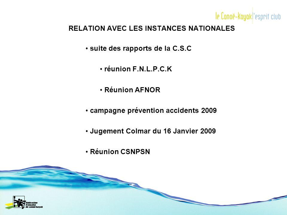 RELATION AVEC LES INSTANCES NATIONALES