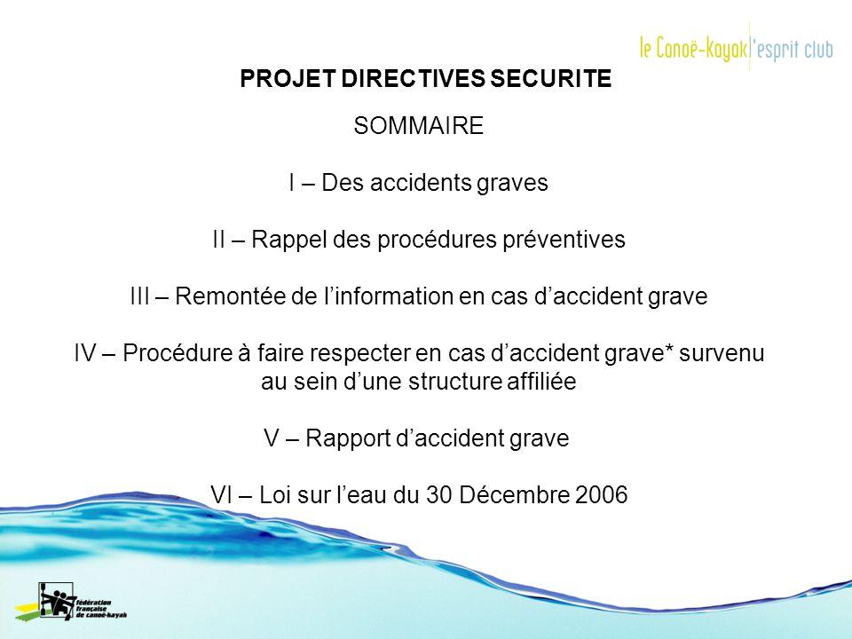 PROJET DIRECTIVES SECURITE