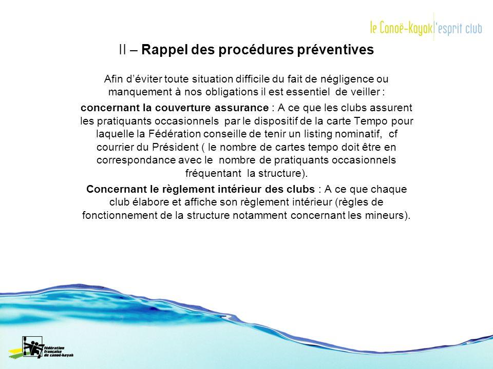 II – Rappel des procédures préventives