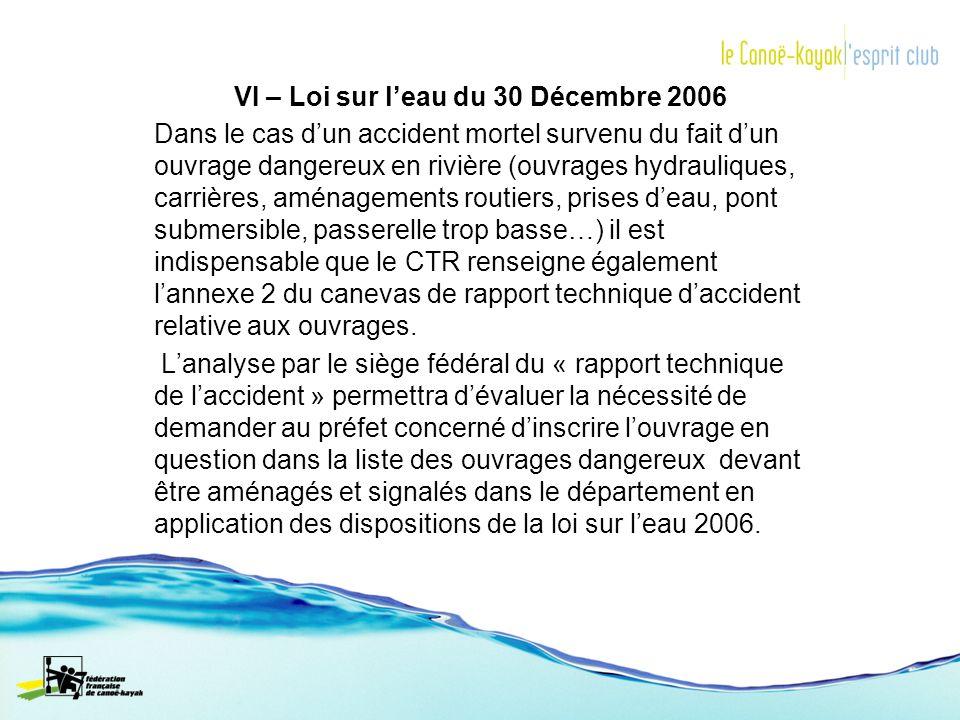 VI – Loi sur l'eau du 30 Décembre 2006