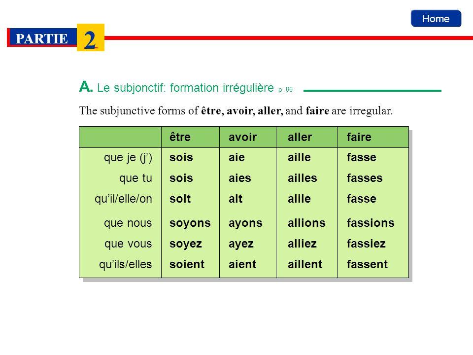 A. Le subjonctif: formation irrégulière p. 86