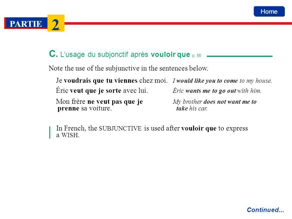 C. L'usage du subjonctif après vouloir que p. 88