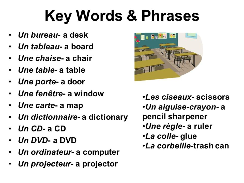 Key Words & Phrases Un bureau- a desk Un tableau- a board