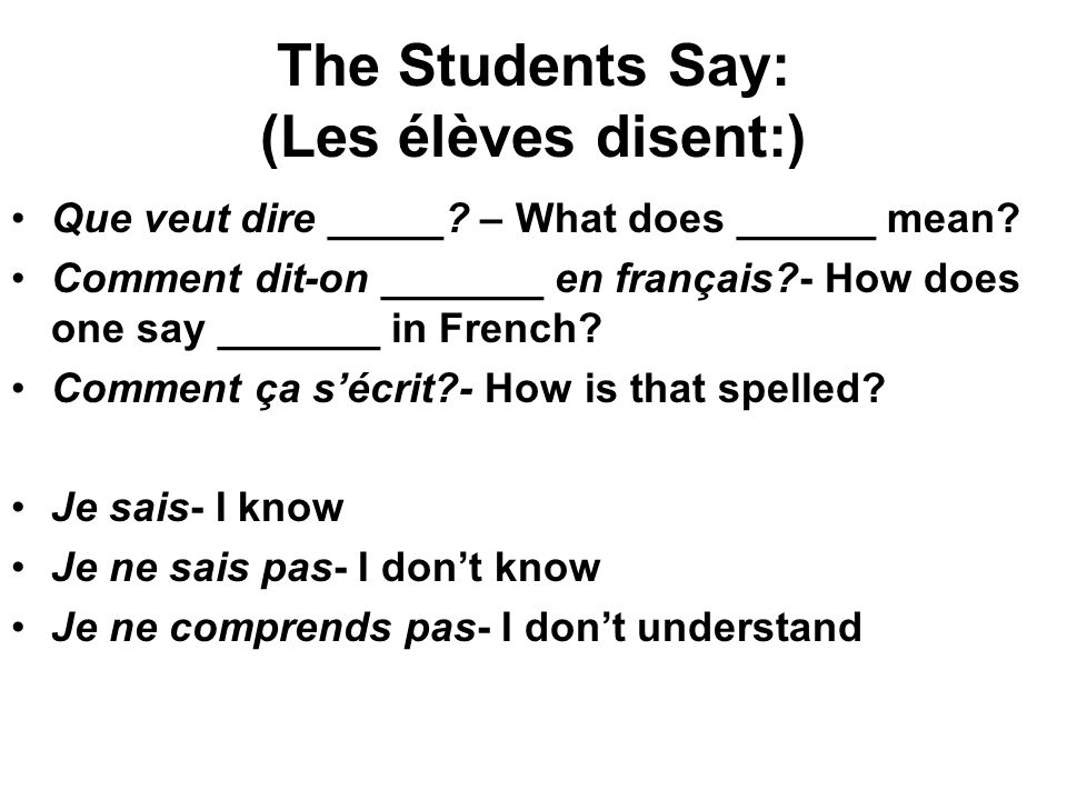 The Students Say: (Les élèves disent:)