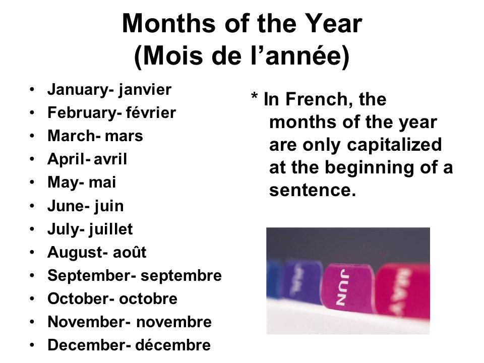 Months of the Year (Mois de l'année)