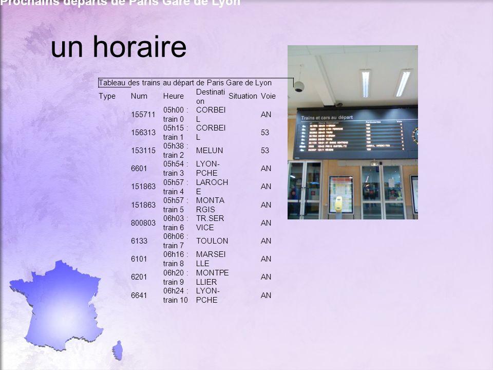 un horaire Prochains départs de Paris Gare de Lyon