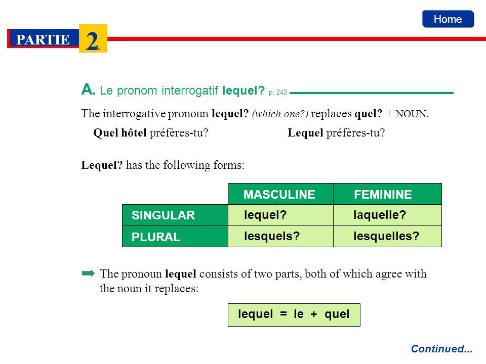 A. Le pronom interrogatif lequel p. 242