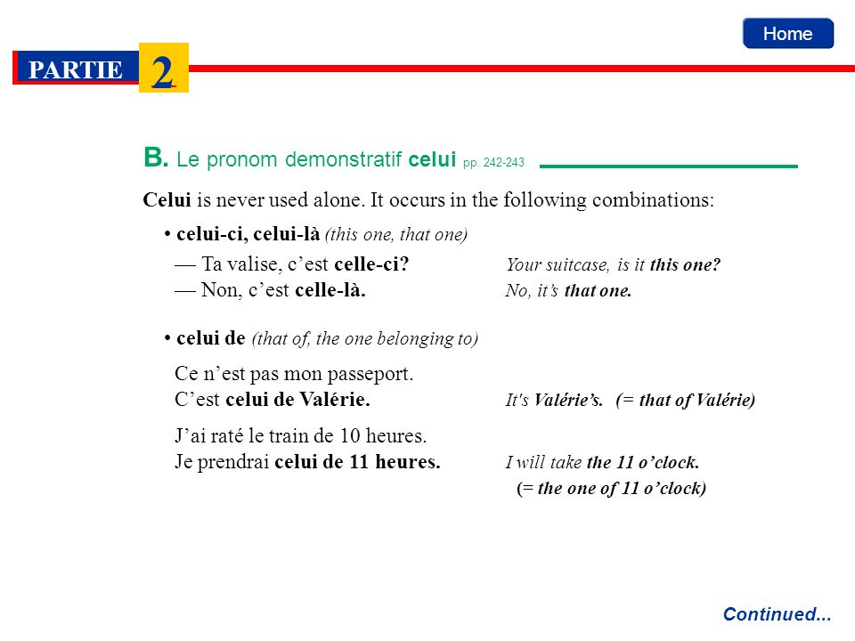 B. Le pronom demonstratif celui pp. 242-243
