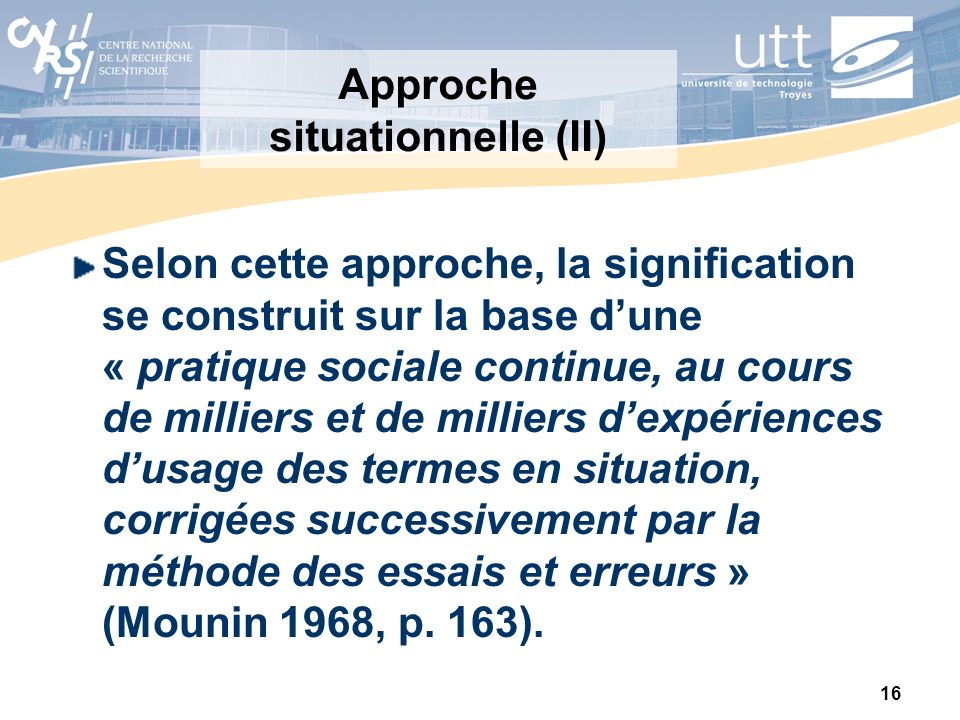 Approche situationnelle (II)