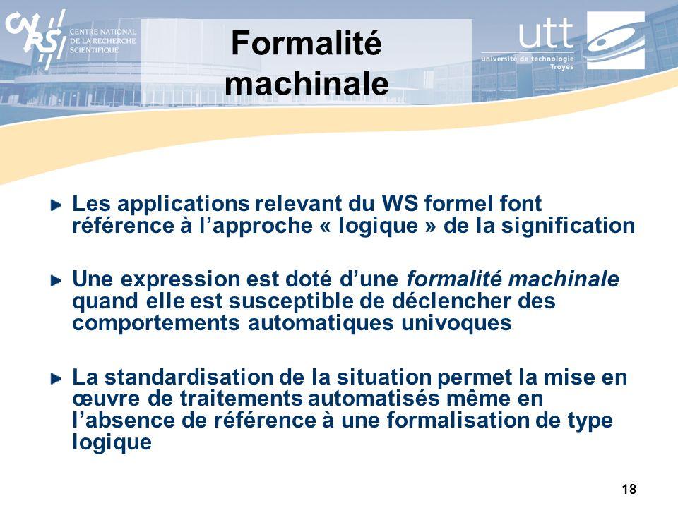 Formalité machinale Les applications relevant du WS formel font référence à l'approche « logique » de la signification.