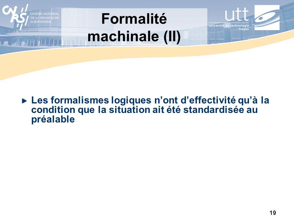 Formalité machinale (II)